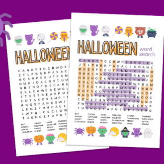 Halloween word search printables on a purple background with a cartoon spider