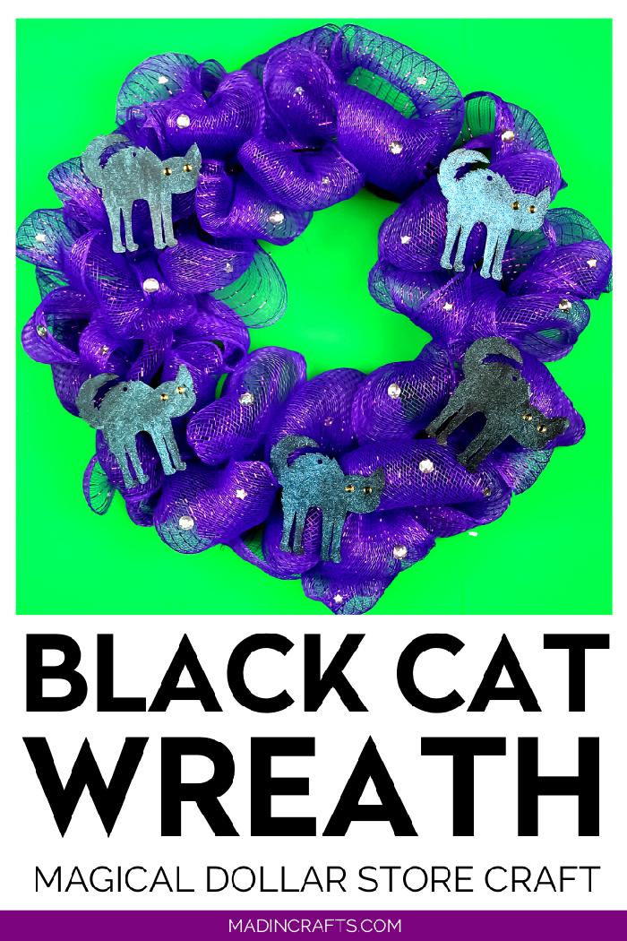 DOLLAR STORE BLACK CAT HALLOWEEN WREATH