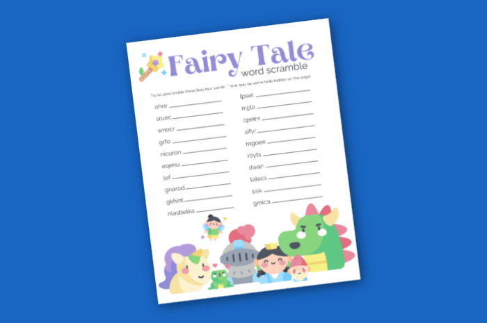Fairy Tale word scramble printable on a blue background