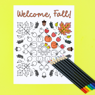 Welcome Fall coloring page with colored pencils on a yellow background