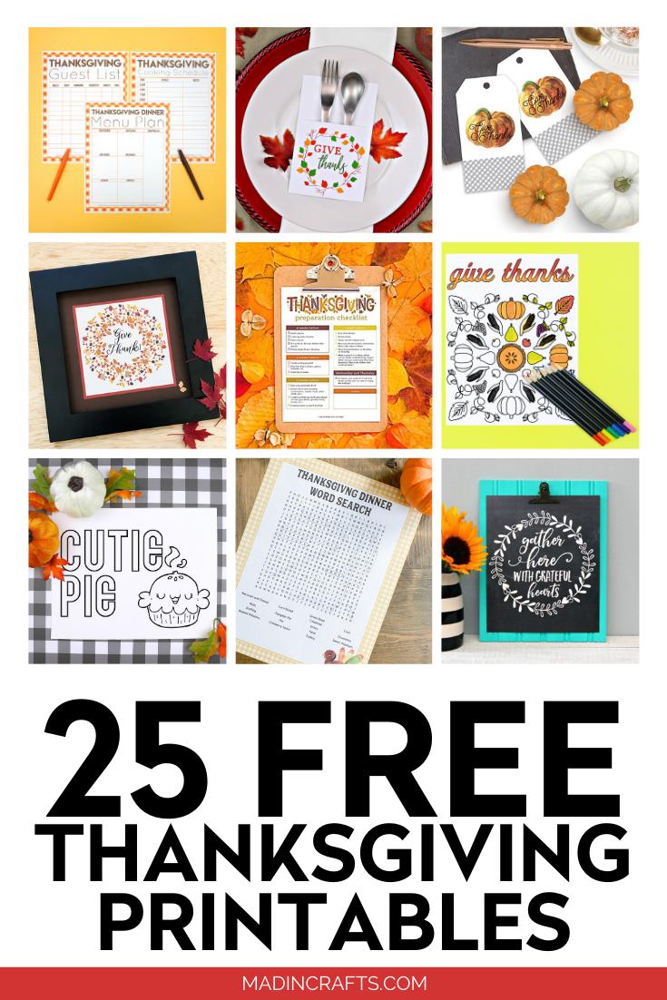 25 FREE THANKSGIVING PRINTABLES