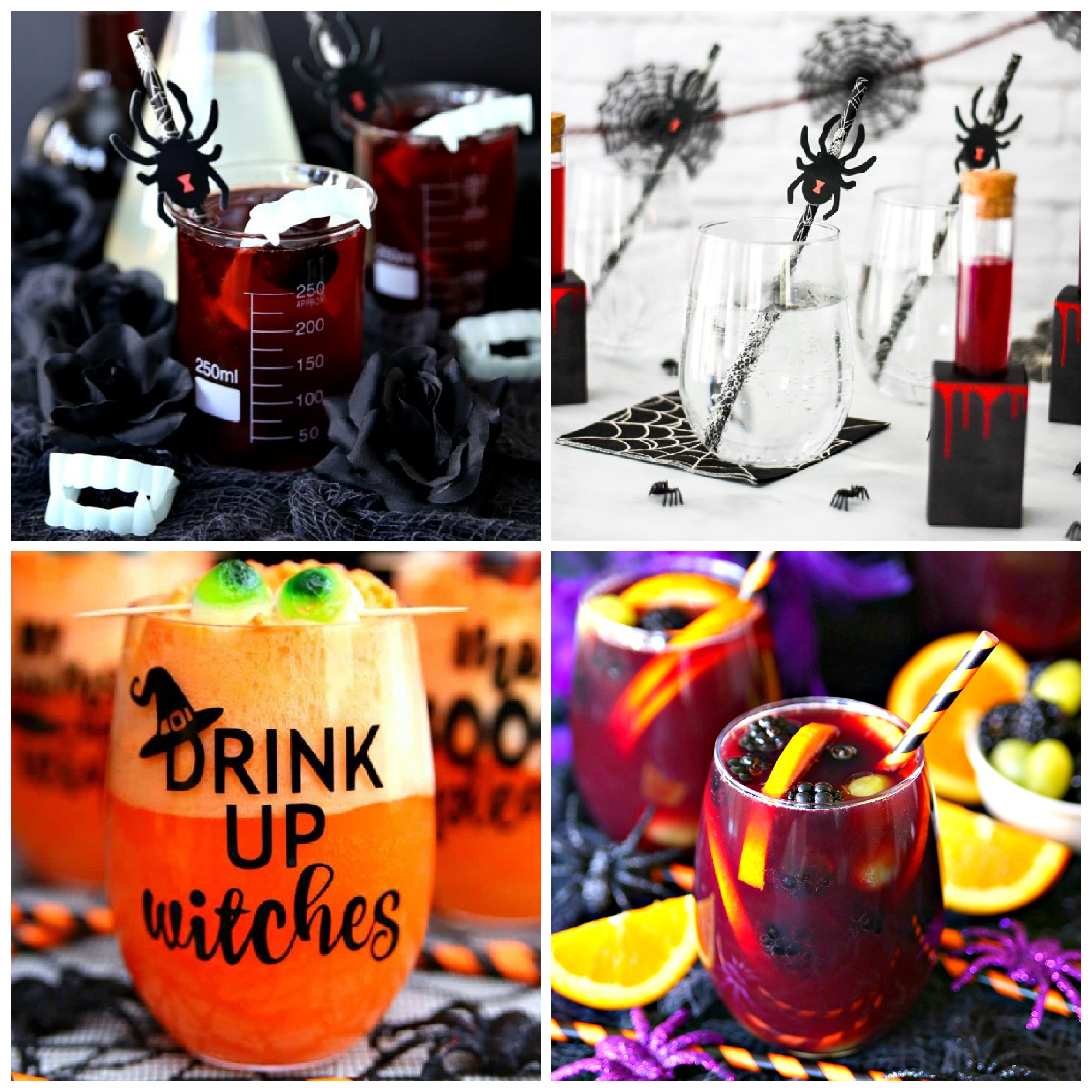 collage of 4 DIY Halloween cocktails