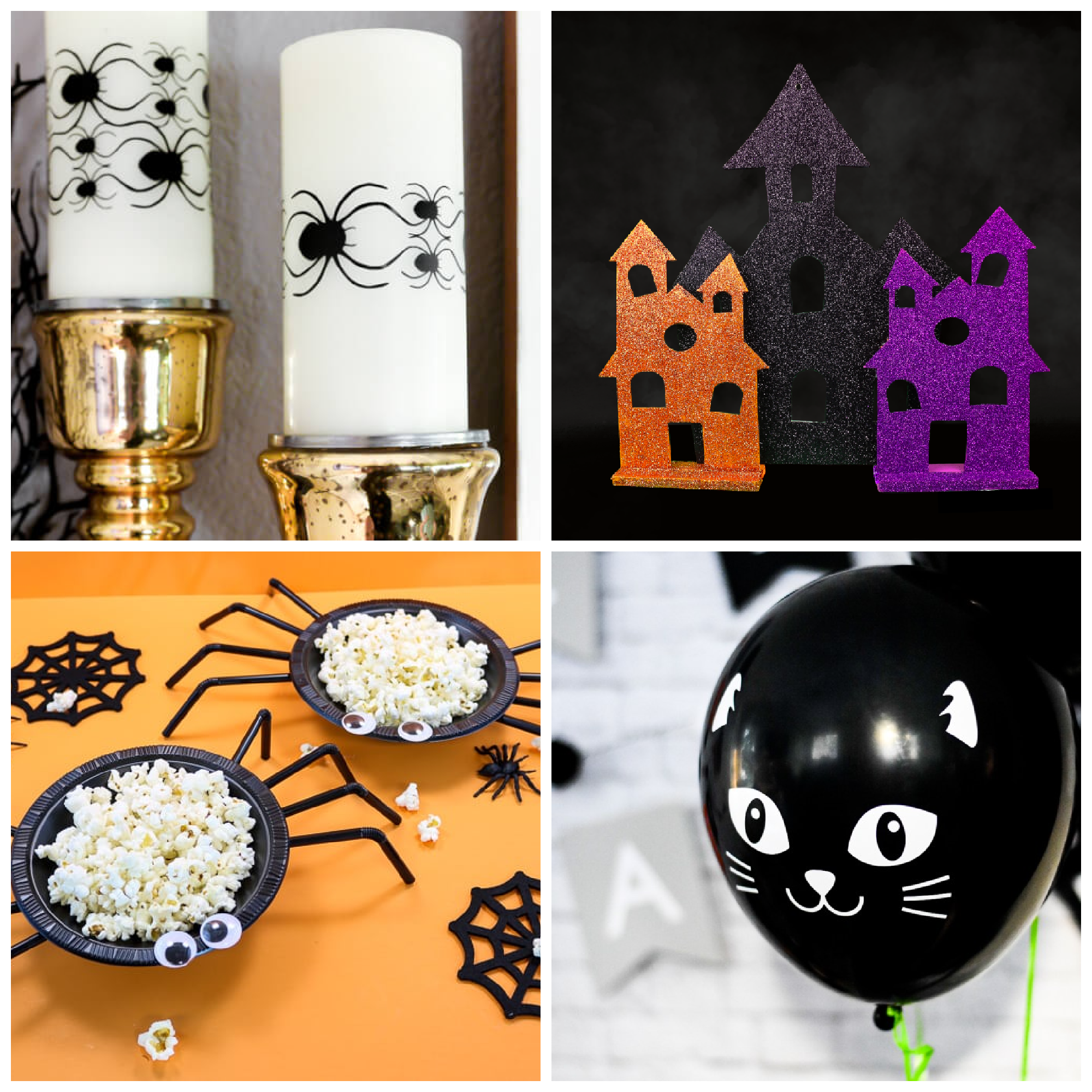collage of 4 DIY Halloween crafts and recipes