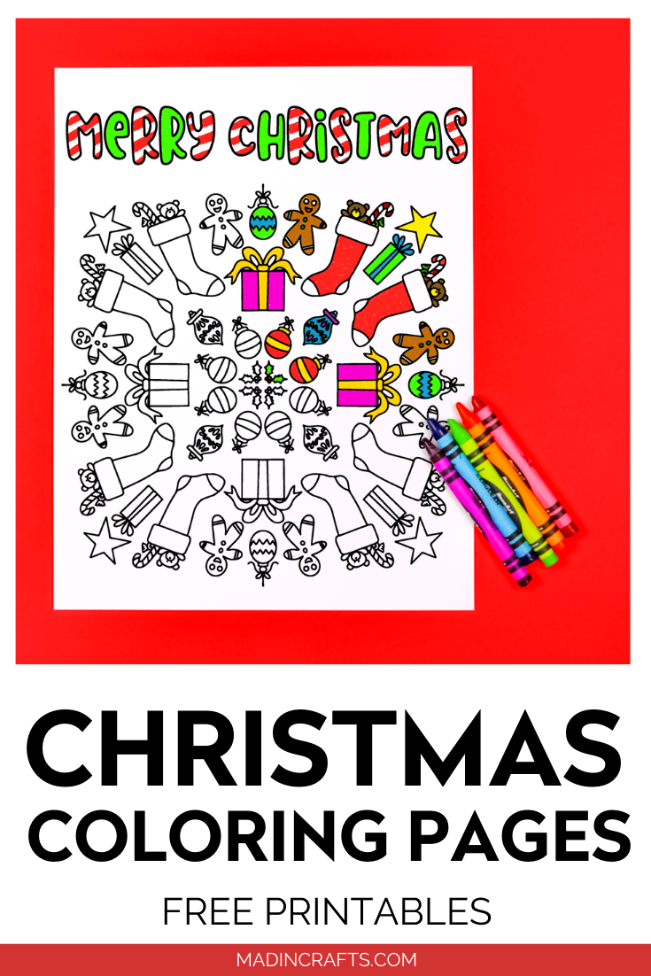Printable Christmas coloring page with crayons on a red background