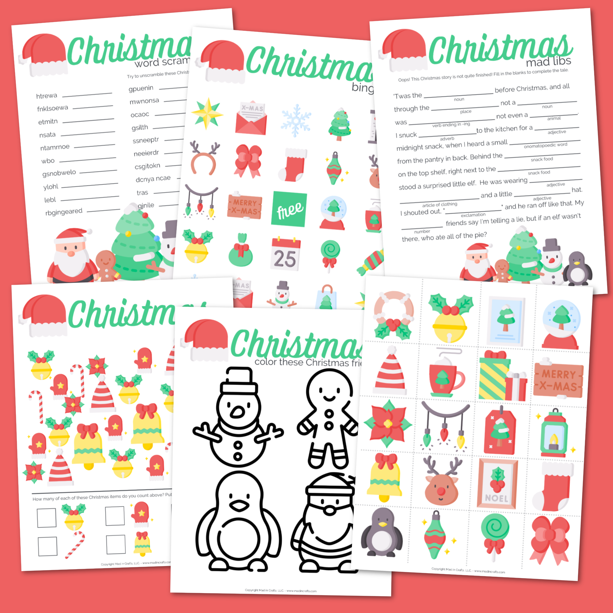 Collage of printable Christmas activity sheets