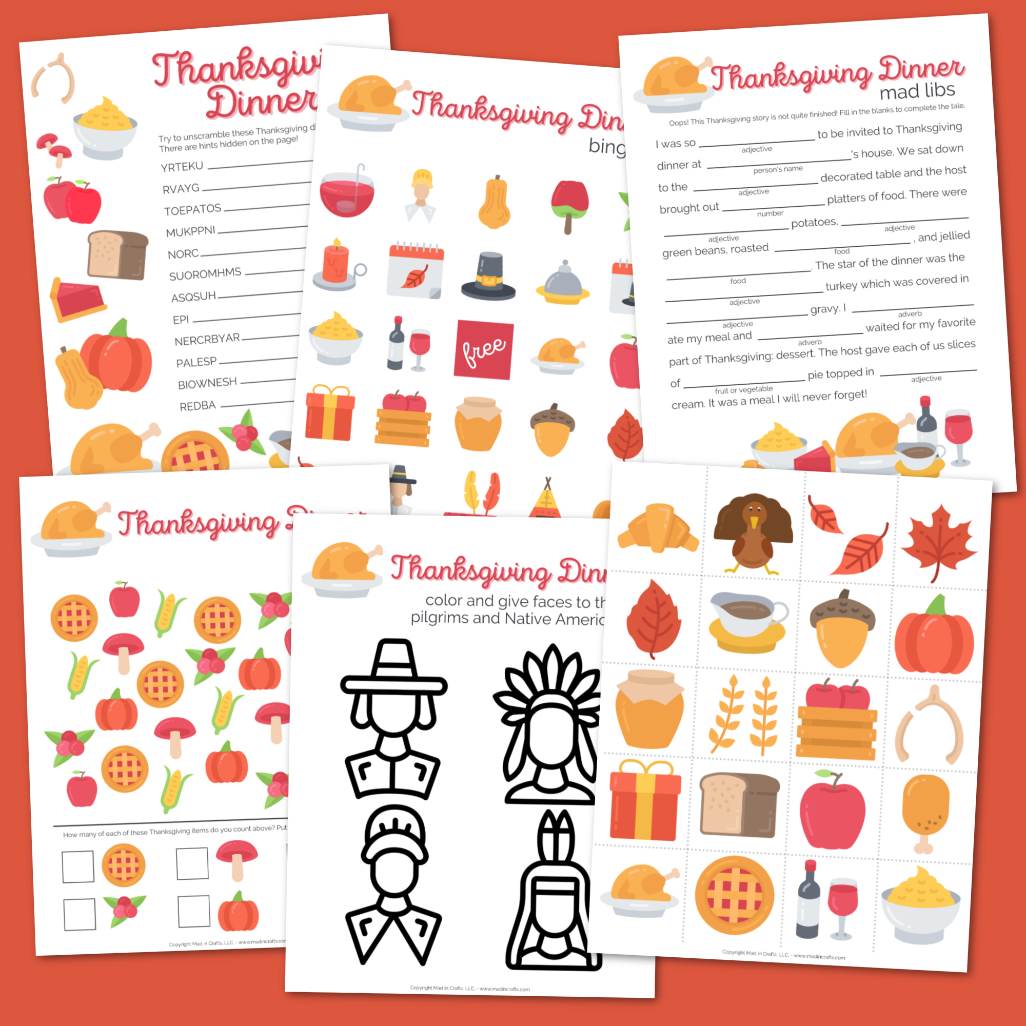 Collage of printable Thanksgiving activity sheets