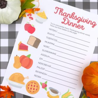 THANKSGIVING WORD SCRAMBLE PRINTABLE
