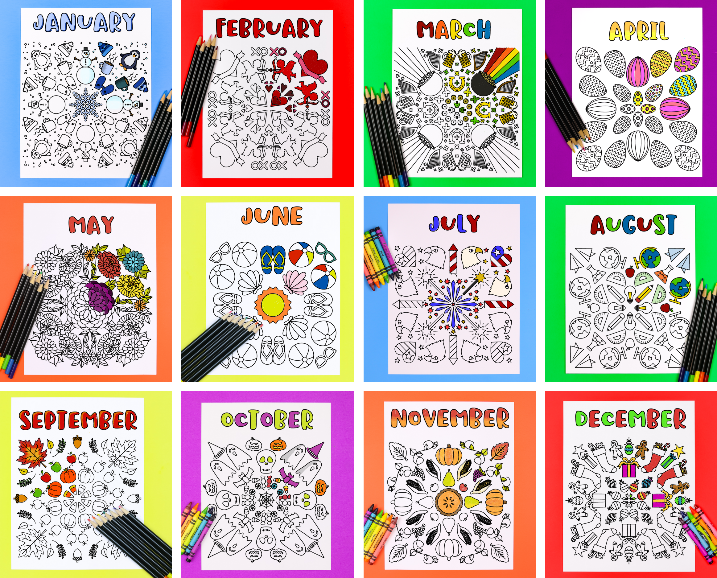 Collage of monthly printable coloring pages