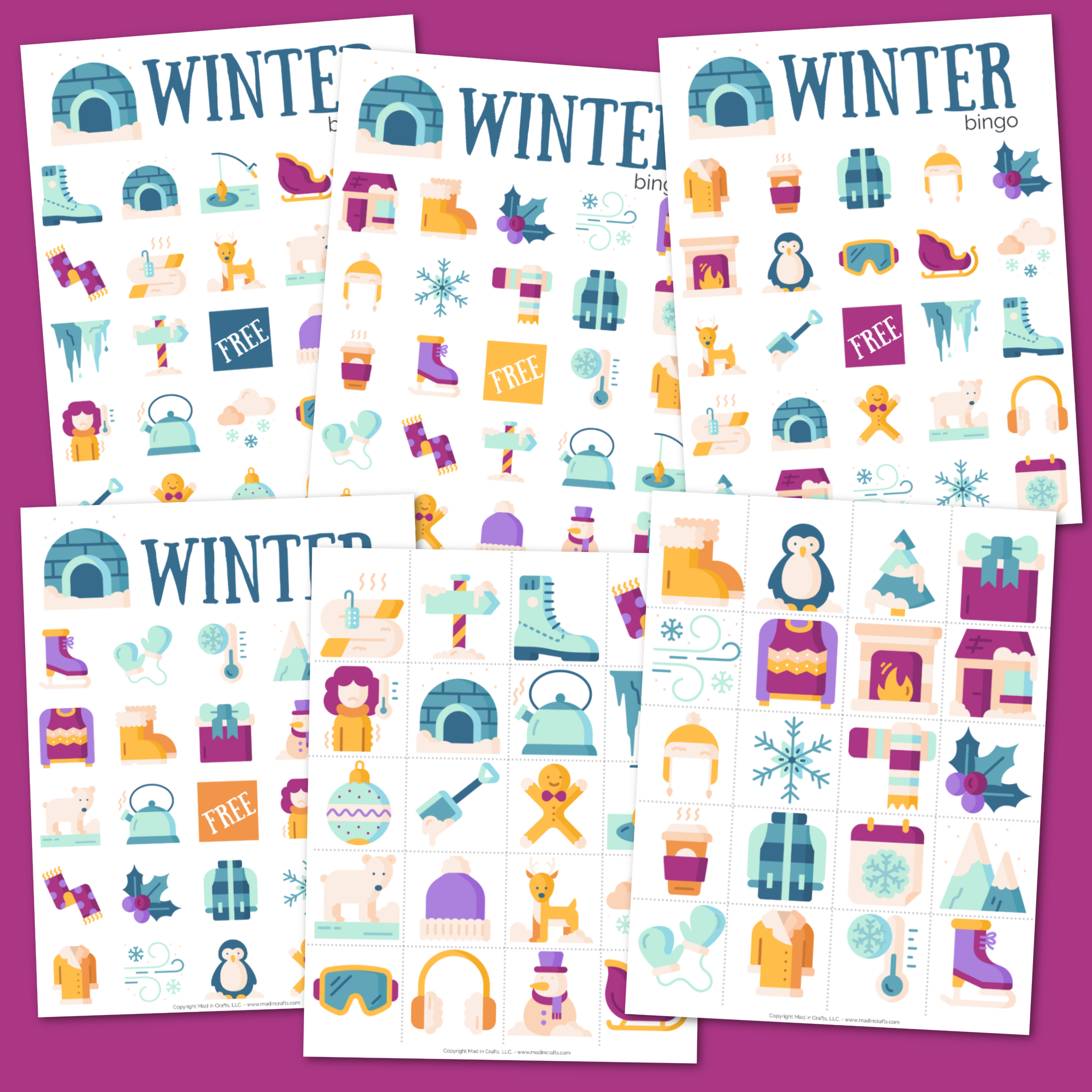 Collage of Winter Bingo Game printables on a purple background