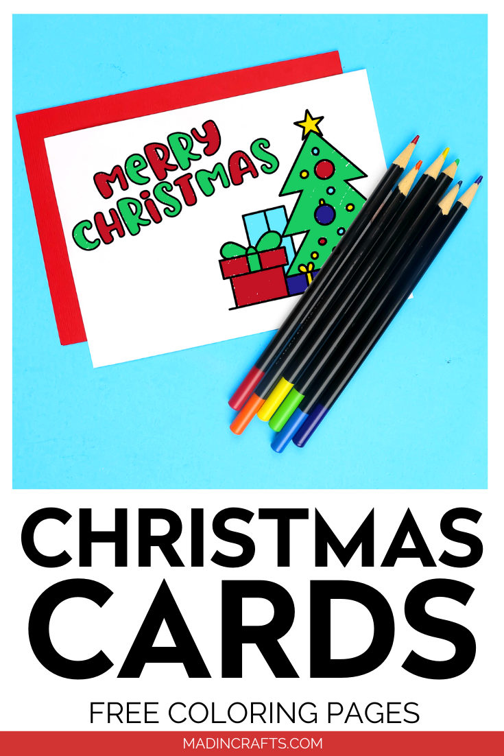 Merry Christmas printable coloring card with colored pencils
