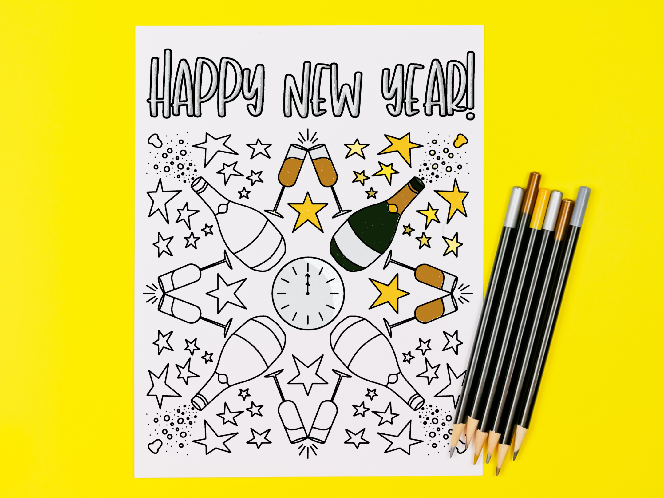 Printable New Year\'s coloring page with colored pencils on a yellow background