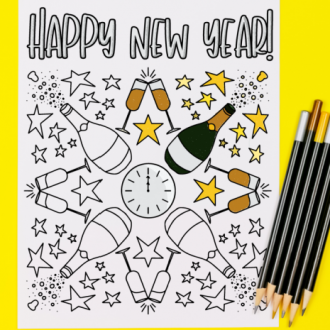 Printable New Year's coloring page with colored pencils on a yellow background
