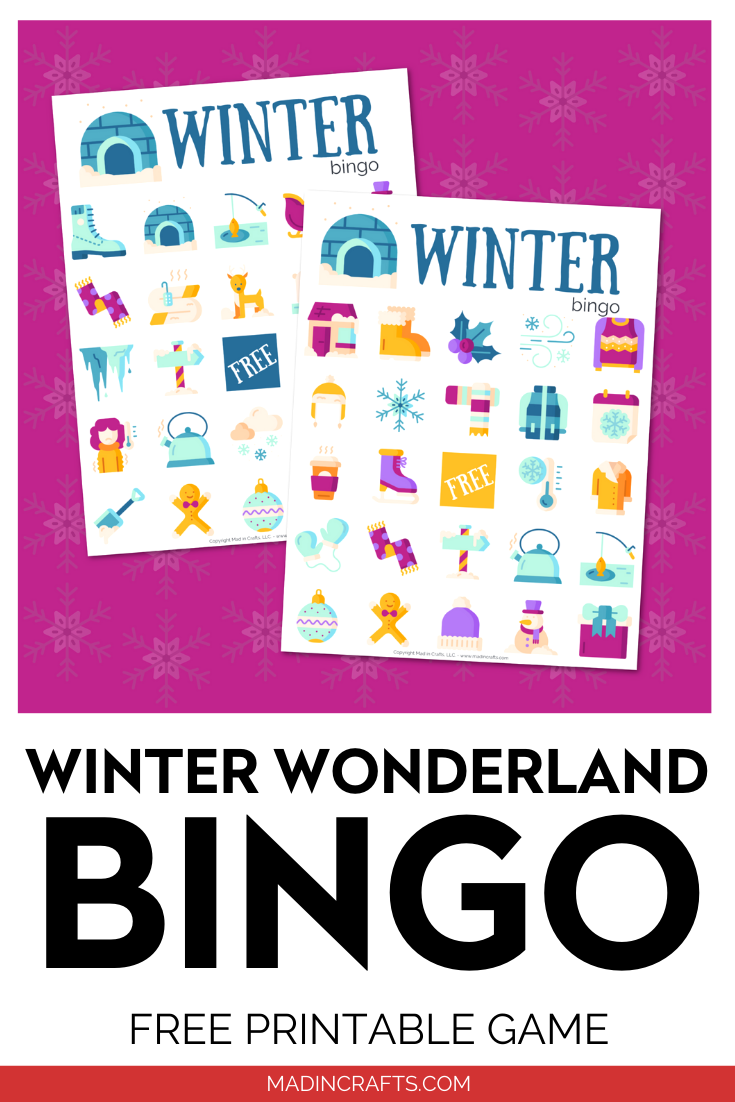 Printable Winter Bingo Cards on a purple background