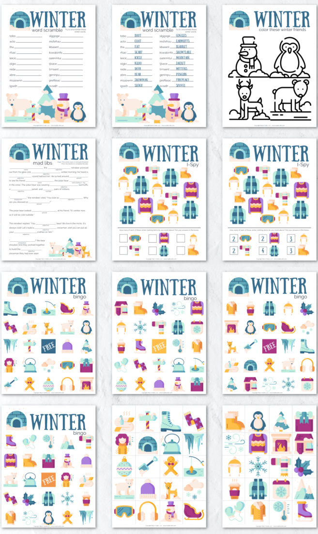 Collage of printable winter activity sheets