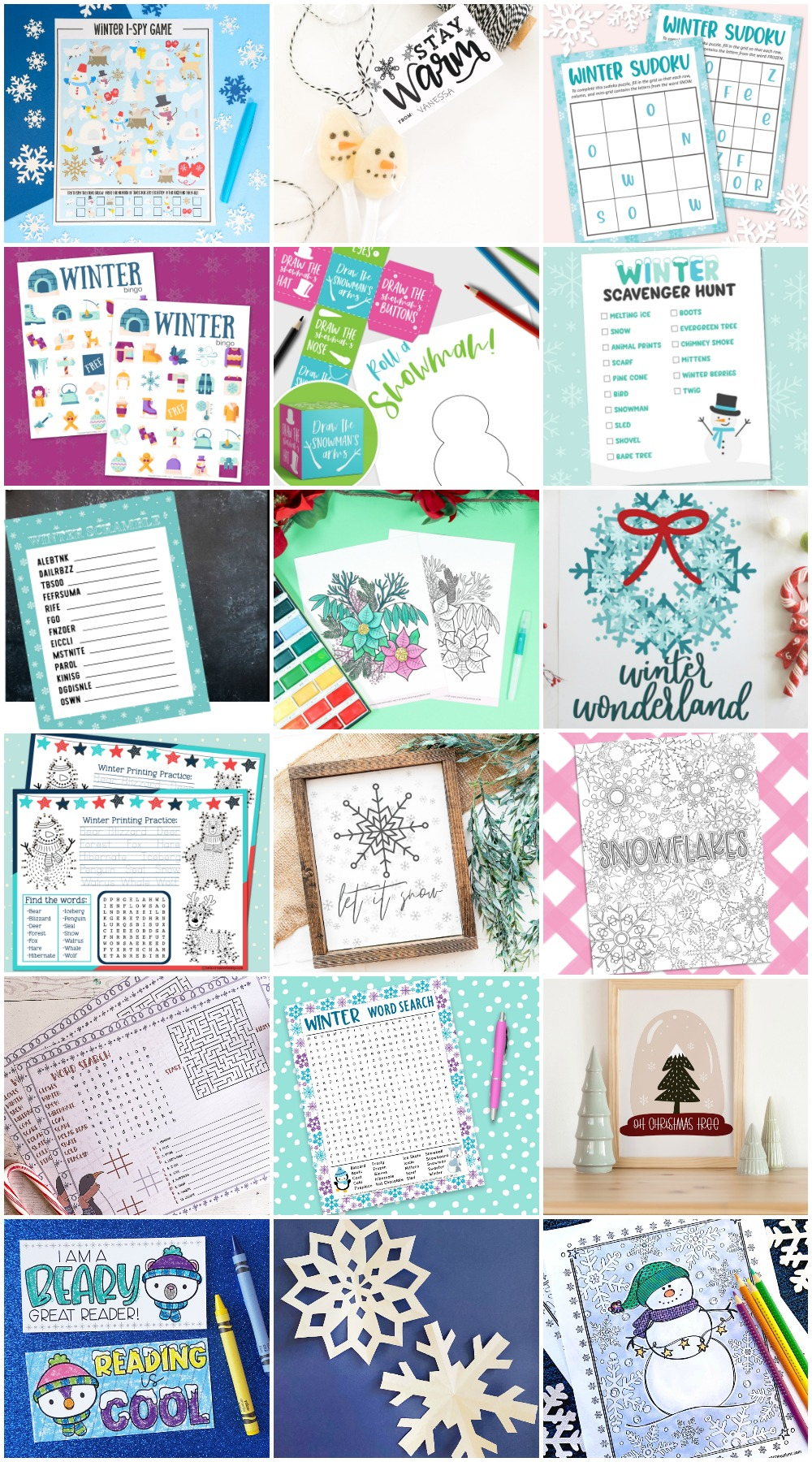 Collage of winter printable activities