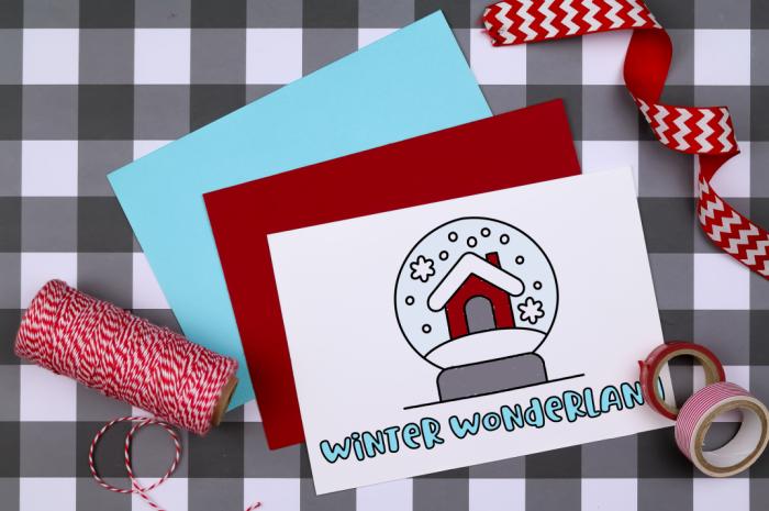 Winter Wonderland printable coloring card red and blue envelops
