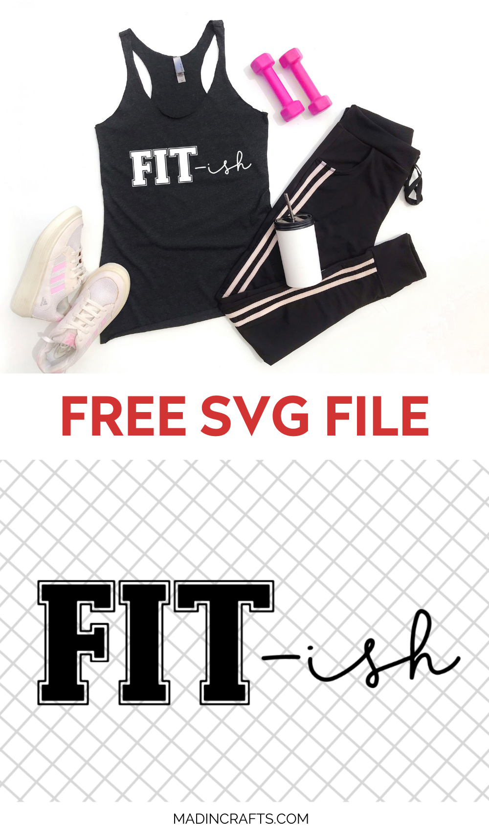 Collage of images containing workout gear with a FIT-ish SVG design
