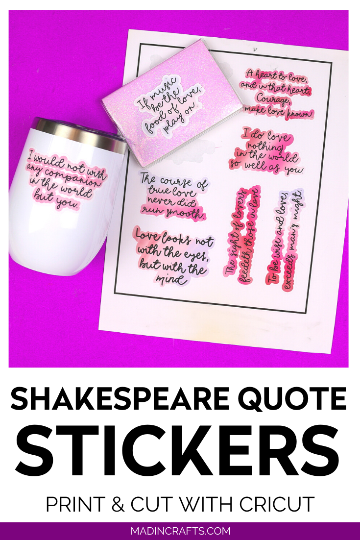 Sheet of Shakespeare stickers and tumbler and notebook