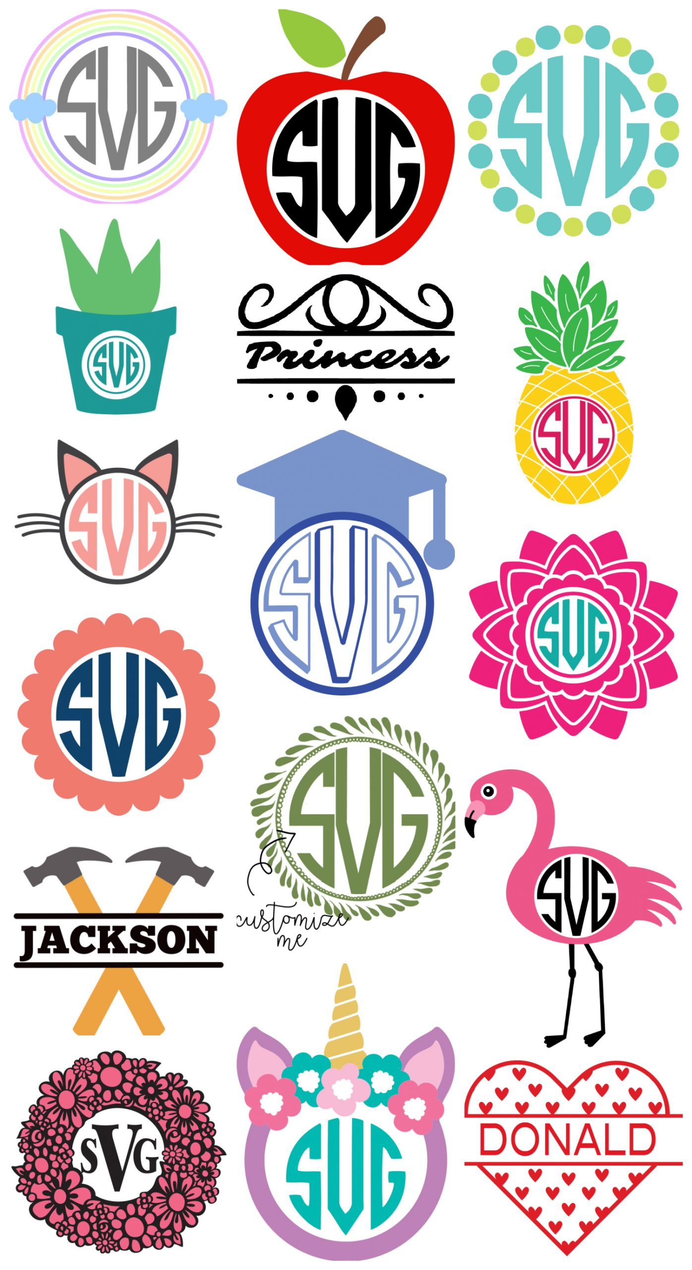 Collage of Cricut Monogram SVG designs