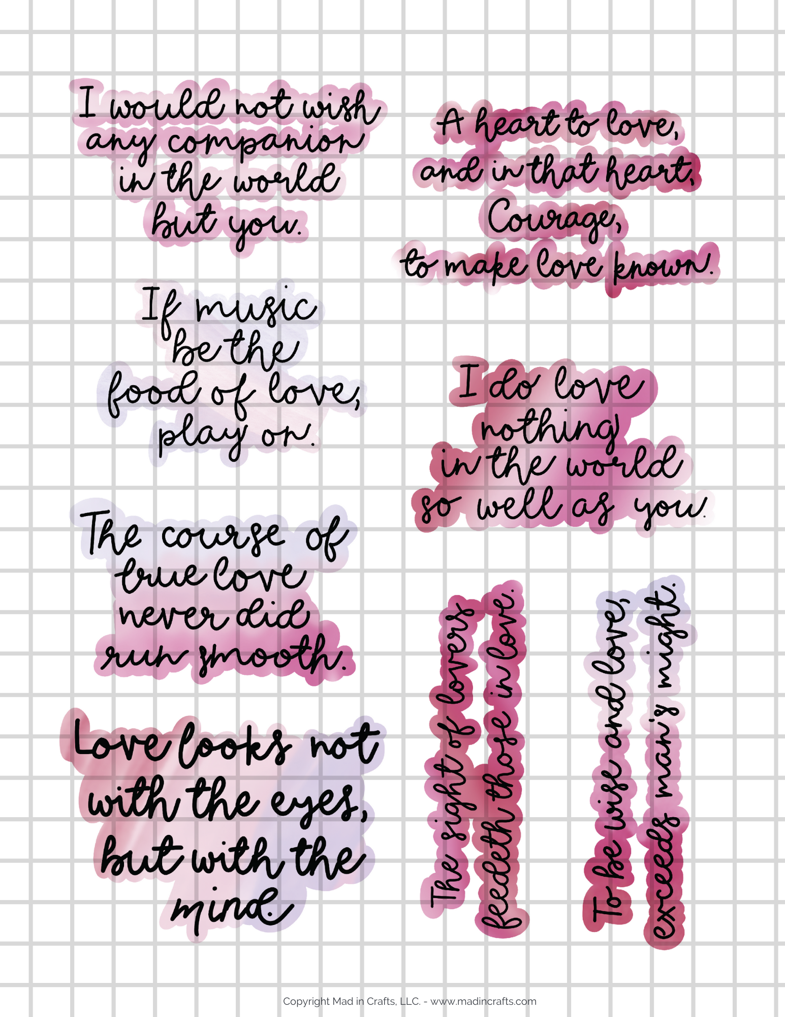Collage of Shakespeare love quote stickers
