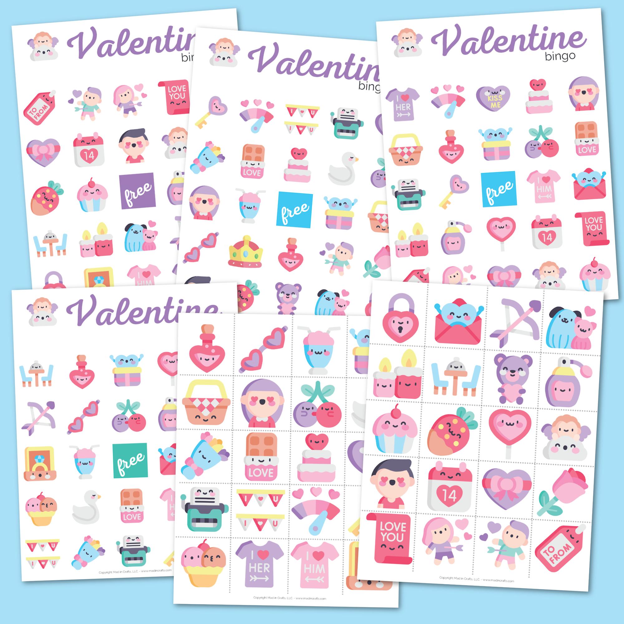Collage of Printable Valentines Bingo Cards