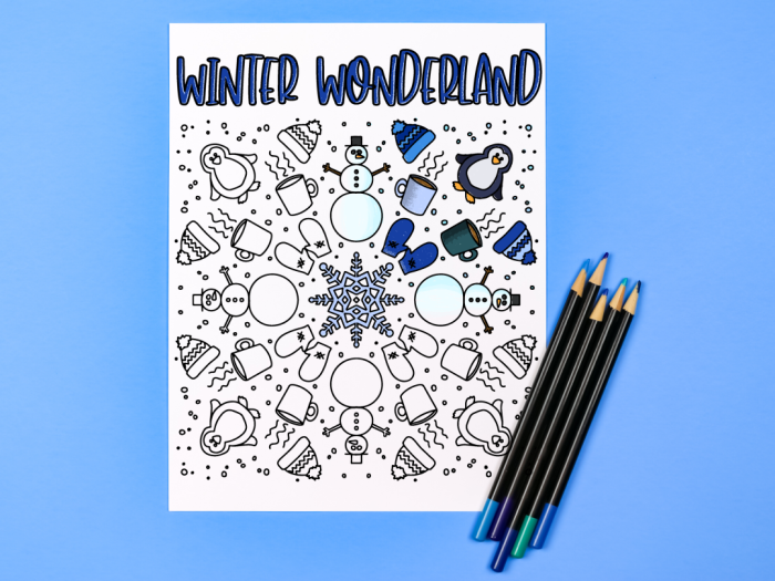 Winter coloring page and colored pencils on a blue background