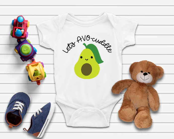 Let's AVO-cuddle SVG on baby onesie and a teddy bear