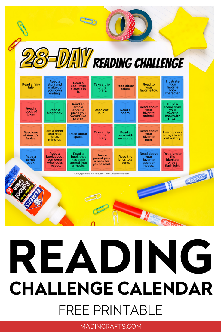 Printable reading calendar with school supplies on a yellow background