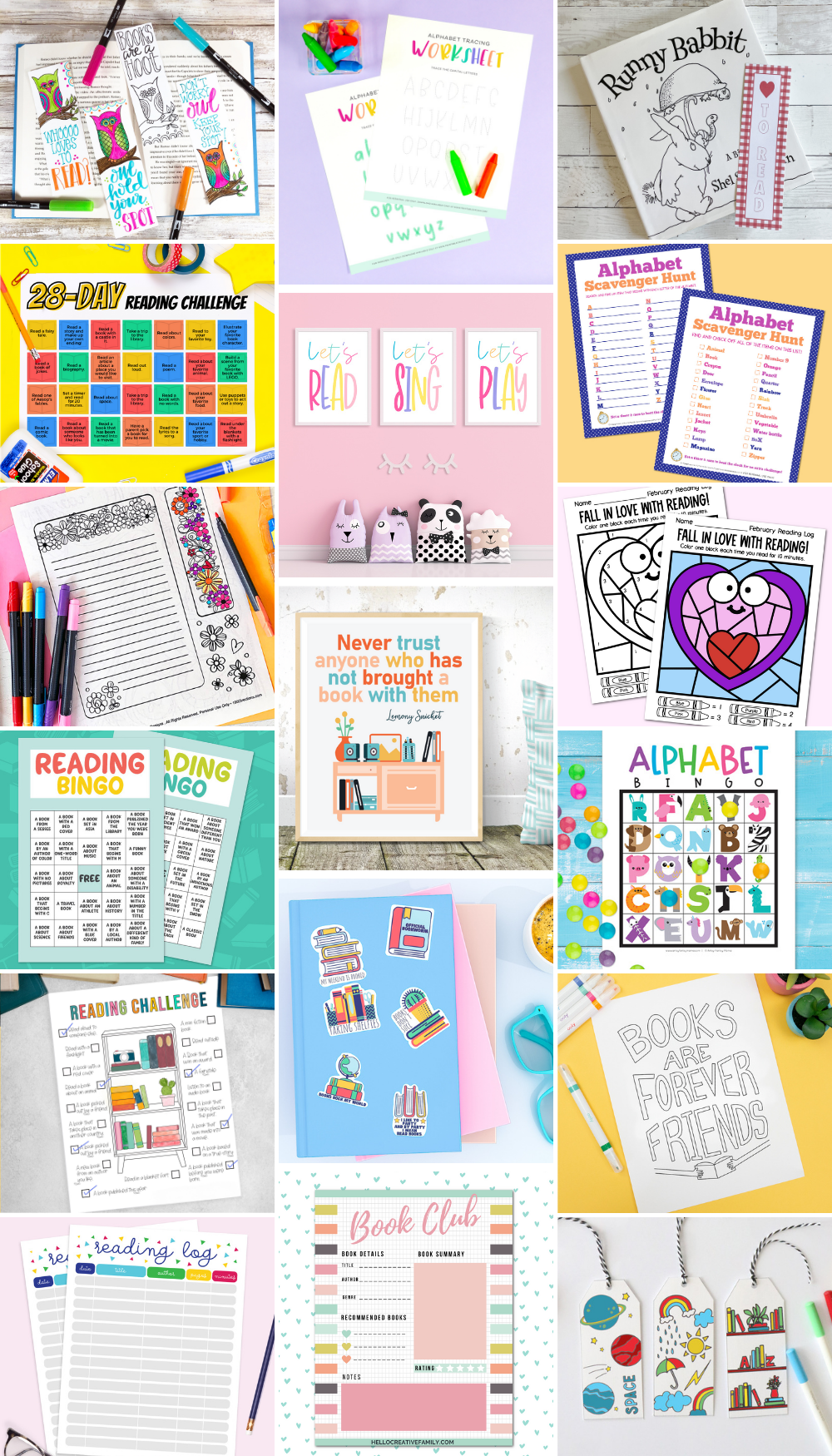 collage of reading printables