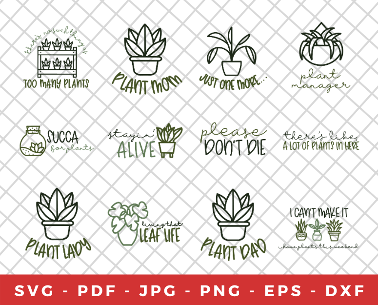 collage of plant themed svg designs